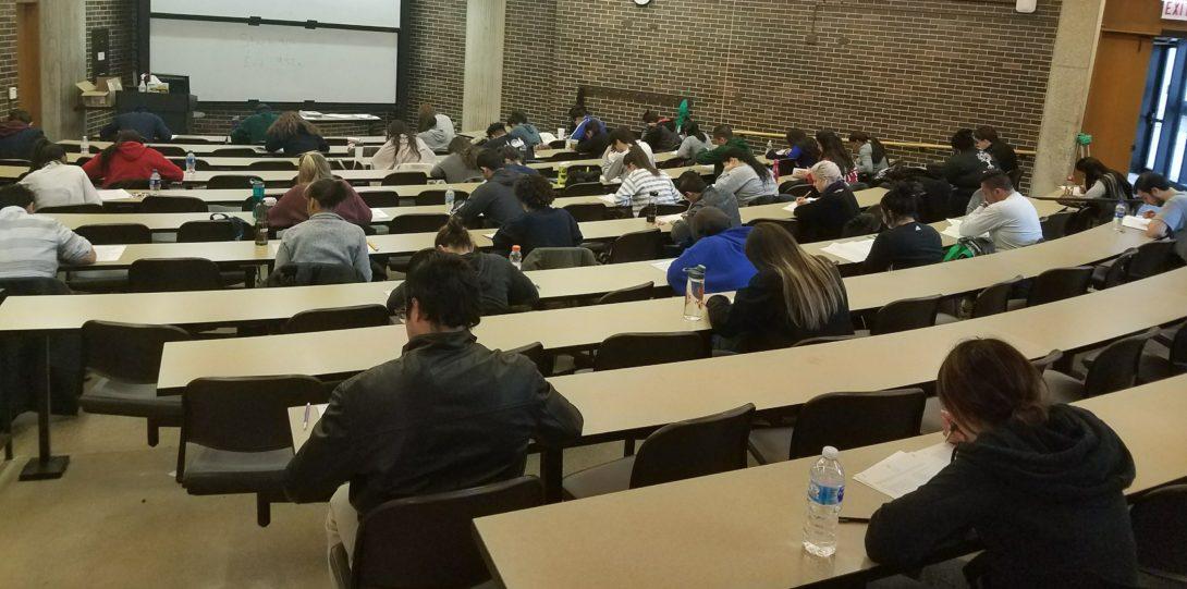 Students taking practice LSAT