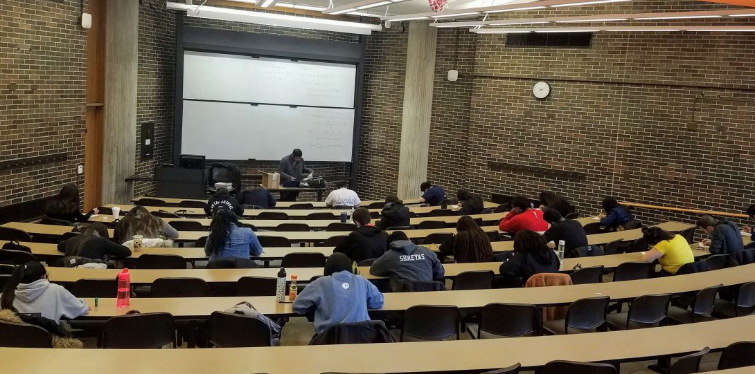 Students taking practice LSAT