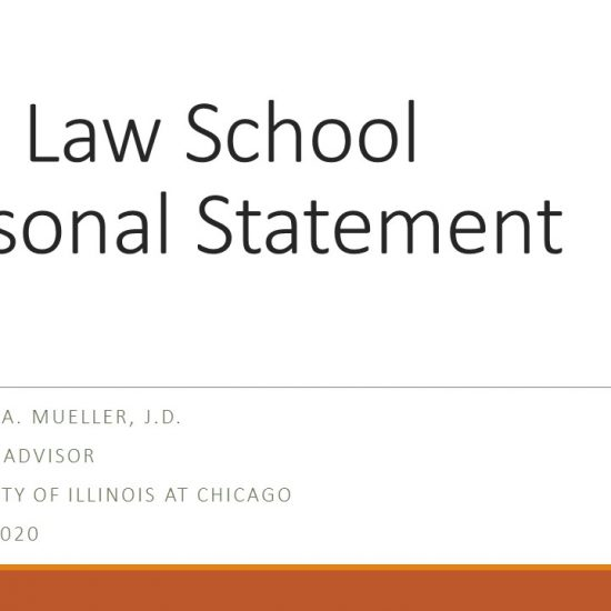 title slide of presentation with the title The Law School Personal Statement Pre-Law Advisor